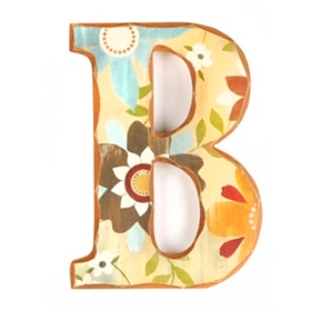 Vintage Floral Monogram B Wall Plaque