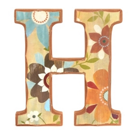 Vintage Floral Monogram H Wall Plaque