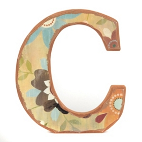 Vintage Floral Monogram C Wall Plaque