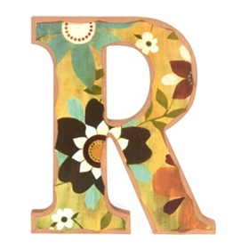 Vintage Floral Monogram R Wall Plaque