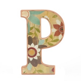 Vintage Floral Monogram P Wall Plaque