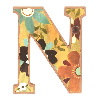 Vintage Floral Monogram N Wall Plaque
