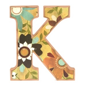 Vintage Floral Monogram K Wall Plaque