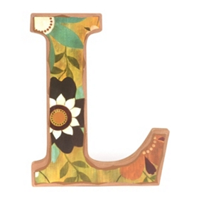 Vintage Floral Monogram L Wall Plaque