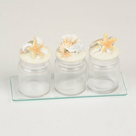 Glass Seashell Jars, Set of 3