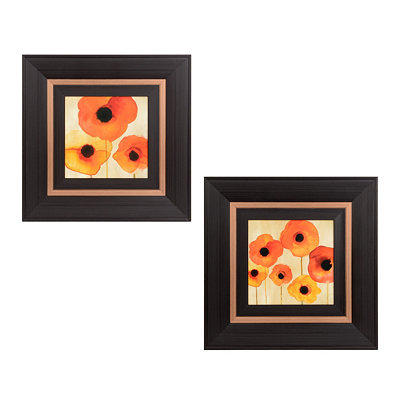 Orange Watercolor Poppies Framed Art Prints