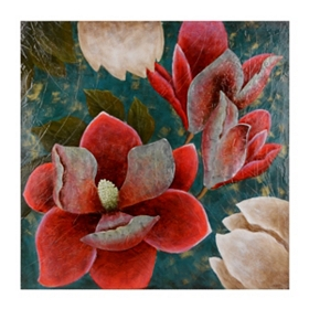 Magnolia on Blue Metal Wall Plaque