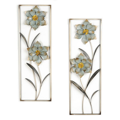 Cottage Blue Floral Metal Wall Plaques