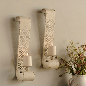 Distressed Cream Lattice Sconce, Set of 2