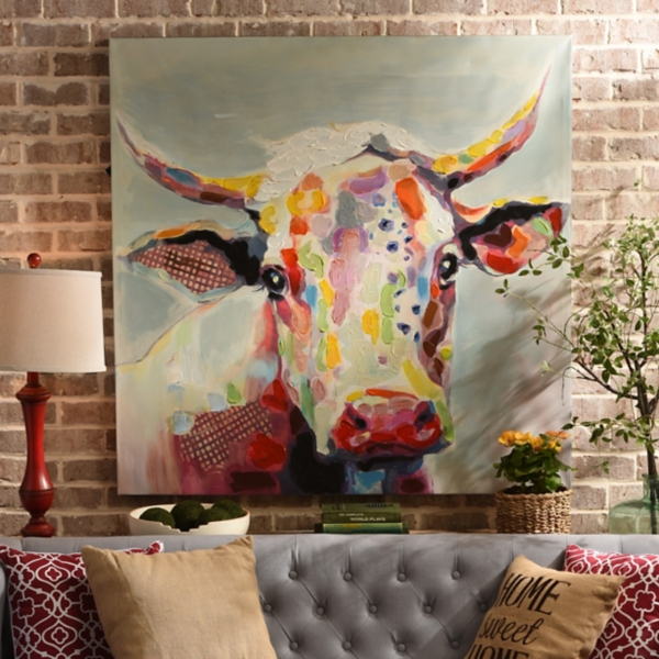 Cow Wall Art betsy cow canvas art print, 50x50 | kirklands