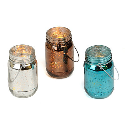 Mercury Glass Mason Jar Votive Holders