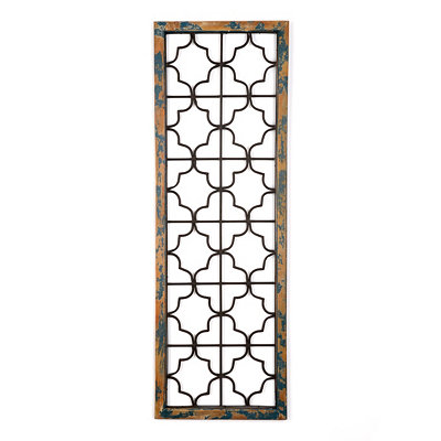 Distressed Blue Green Quatrefoil Wall Plaque