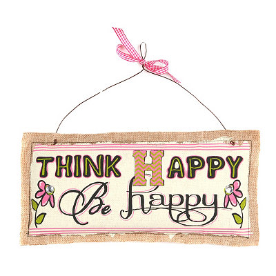 Think Happy Burlap Plaque