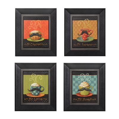 Mustache Coffee Framed Art Prints