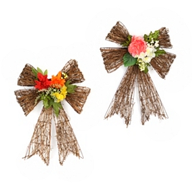 Spring Flower Rattan Door Bow