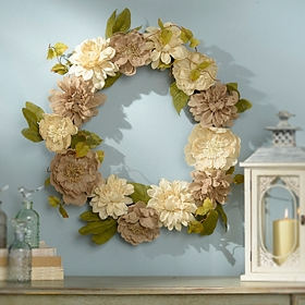 Burlap Dahlia and Peony Wreath