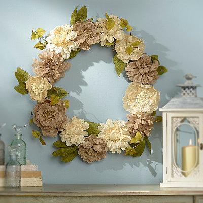 Burlap Dahlia and Peony Wreath
