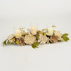 Burlap Dahlia and Peony Centerpiece