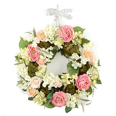 Rose and Hydrangea Spring Wreath