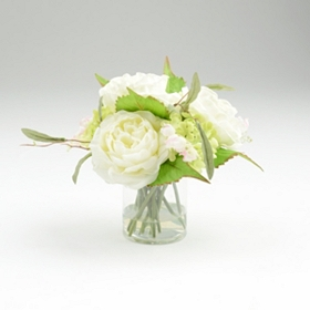 Hydrangea Rose Glass Arrangement