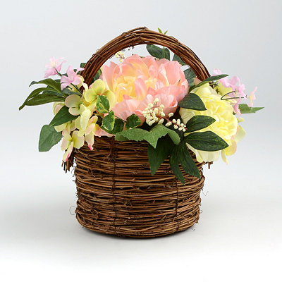 Hydrangea Rose Basket Arrangement