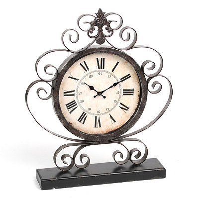 Bronze Scroll Tabletop Clock