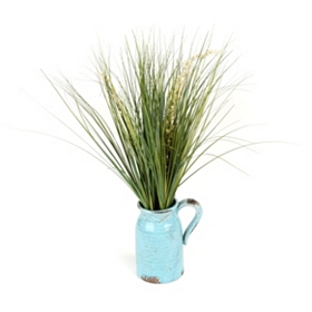 Grass Arrangement in Blue Pitcher