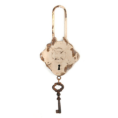 Ivory Lock & Key Wall Plaque