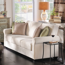 Thomas Serta Ivory Convertible Storage Sofa