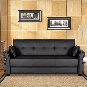 Normandy Black Bonded Leather Convertible Sofa