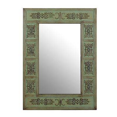 Antiqued Green Cathedral Framed Mirror