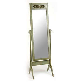 Antiqued Green Cathedral Cheval Mirror
