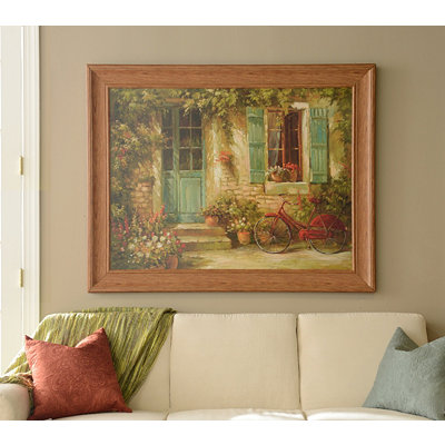 Cottage Bicycle Framed Art Print