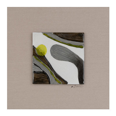 Motion I Glass Tile Wood Plaque