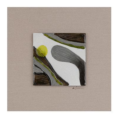 Motion I Glass Tile Wood Plaque