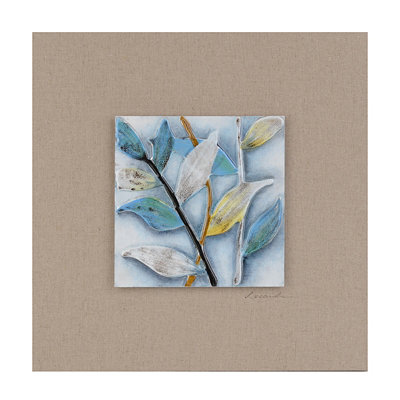 Summer Foliage I Glass Tile Wood Plaque