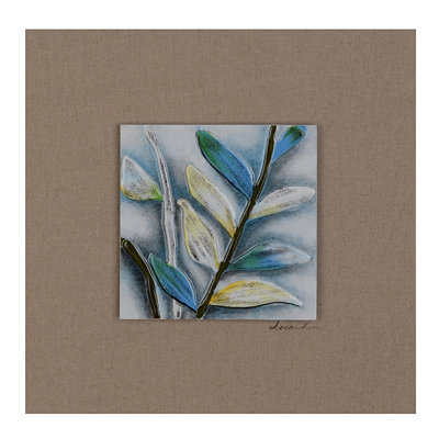 Summer Foliage II Glass Tile Wood Plaque