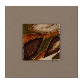 Shimmering Leaves II Glass Tile Wood Plaque