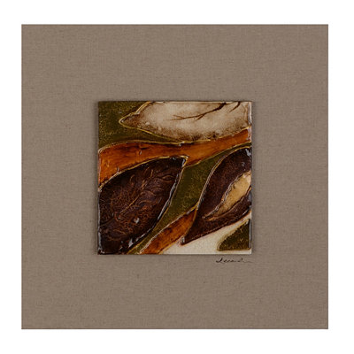 Shimmering Leaves II Glass Tile Wood Plaque