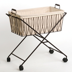 Rolling Wire Hamper with Linen Liner