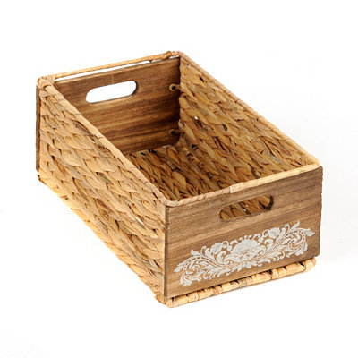 Woven Seagrass and Wood Basket, Small