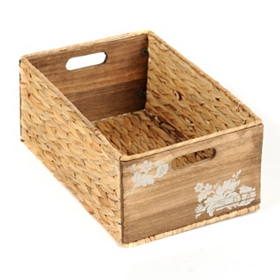 Woven Seagrass and Wood Basket, Medium