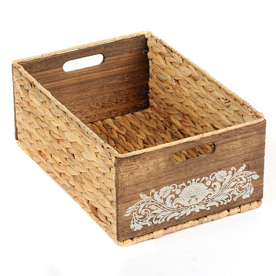 Woven Seagrass and Wood Basket, Large