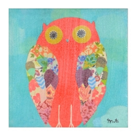 Pink Patchwork Owl Canvas Art Print