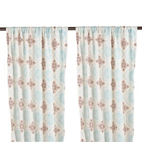 Brown & Blue Finley Curtain Panel Set, 84 in.
