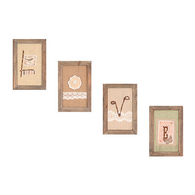 Ribbon & Lace Love Wall Plaque, Set of 4