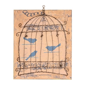 Bird Cage with Clips Wall Plaque