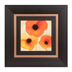 Orange Watercolor Poppies I Framed Art Print