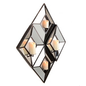 4-Pillar Mirrored Diamond Candle Holder