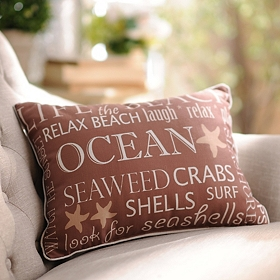 Tan Coastal Reversible Pillow